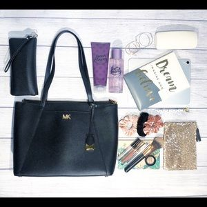 Michael Kors Maddie Leather Tote Black